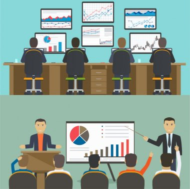 Workstation with a group of workers, web analytics information a