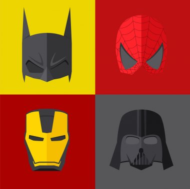 Superhero mask on colored backgrounds