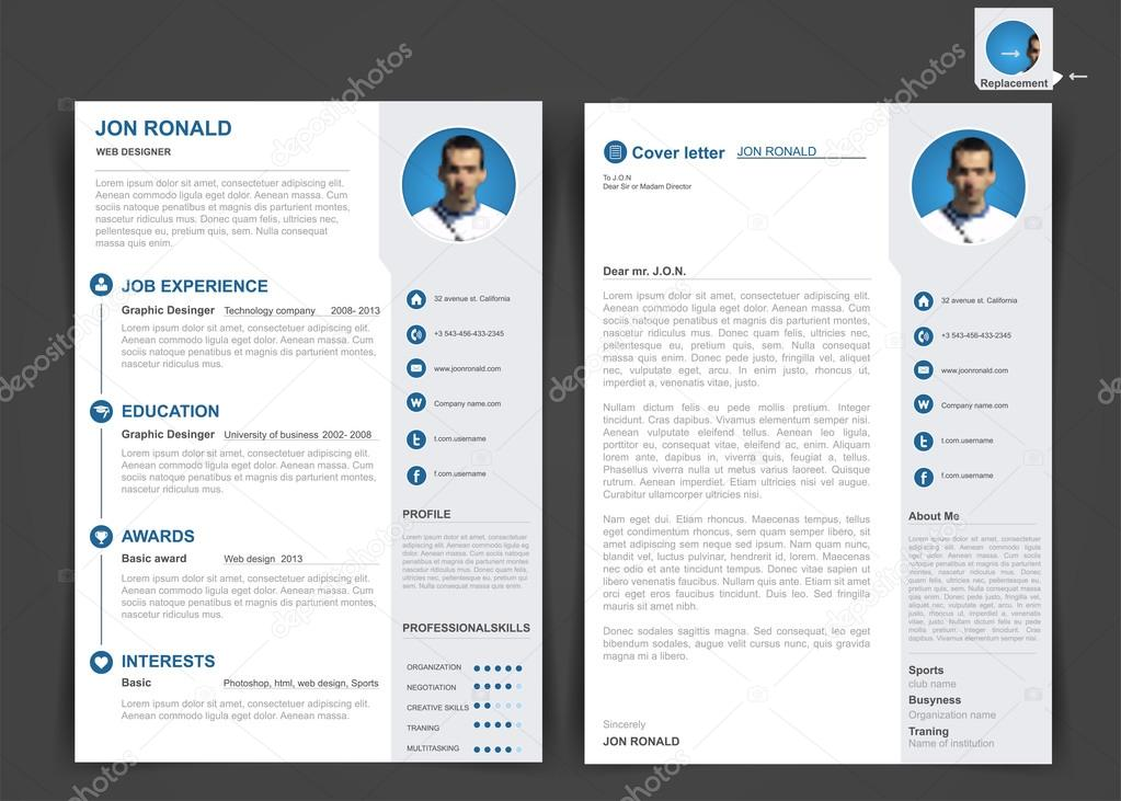 cv professionnel  mod u00e8le de cv de deux pages  u2014 image vectorielle ramcreative  u00a9  86998528