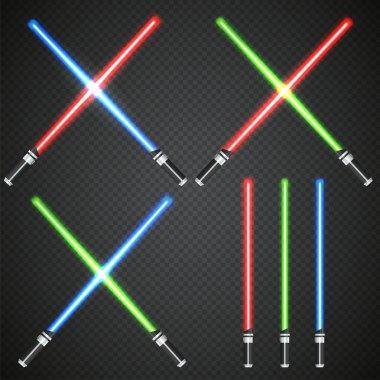 Crossed light swords on dark plaid background.
