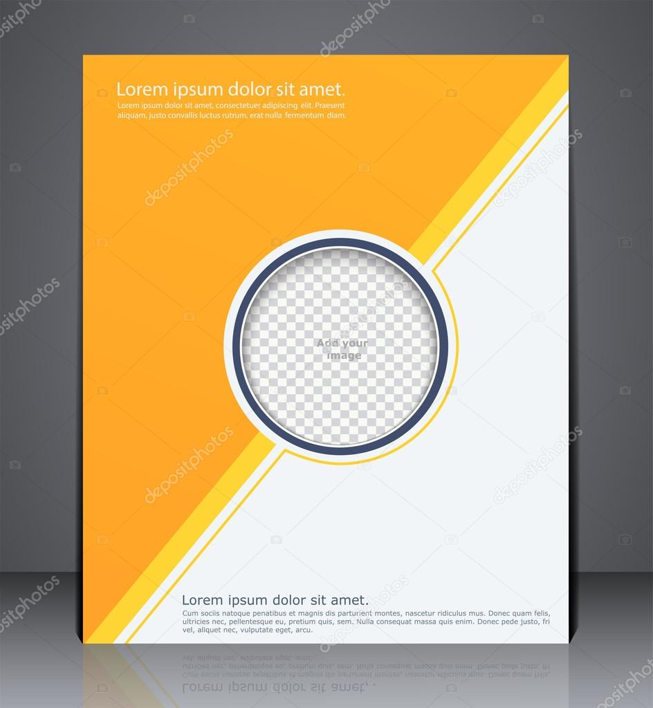 abstract yellow business brochure flyer with an insert for phot