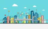 Fotografie Smart City mit Geschäft Zeichen. Online-Business-Konzept
