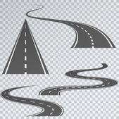 Fotografie Straße mit weißen Streifen auf einem karierten Hintergrund. Gebogene Routen