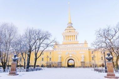 Admiralty building in Saint-Petersburg in the winter
