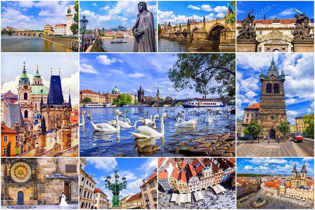 プラハ観光のコラージュ ストック写真 deb 37 118099924