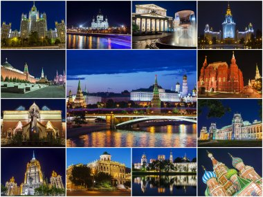 Moscow, Russia (collage tourist attractions in the city at night