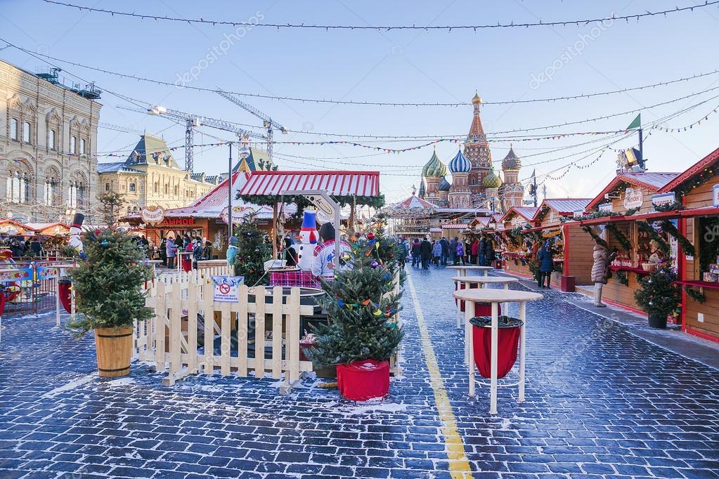 Weihnachten Am 6 Januar.Moskau Russland 6 Januar Weihnachten Markt Auf Dem Roten Platz
