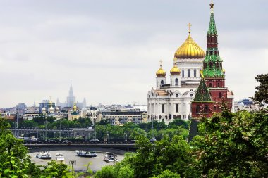 view of the Christ the Savior Cathedral of the Moscow Kremlin to