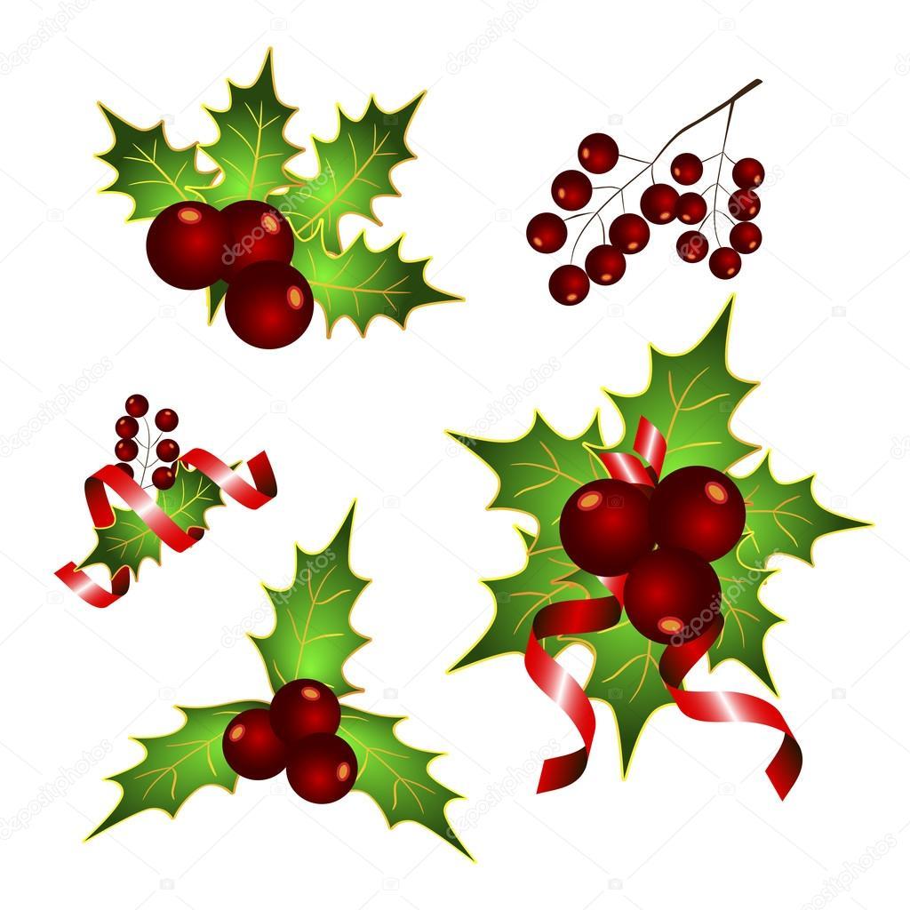 conjunto de adornos navide os mistletoe vector de navidad