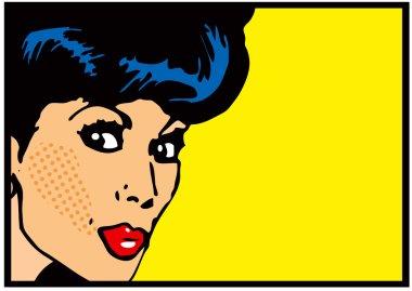 Vintage Clip Art Woman Secret card Big open eyes