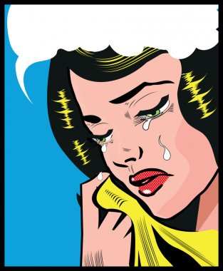 Cry Sad woman pop art illustration pin up style background Pop A