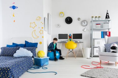 Happy to have his dream room