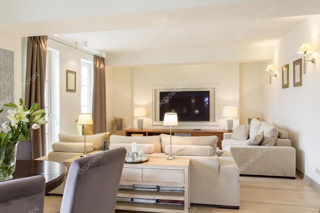 Combinazione di soggiorno e sala da pranzo foto stock for Sala da pranzo e soggiorno insieme