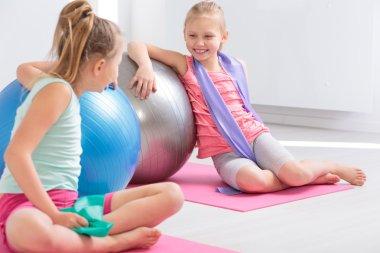 Enjoying their time of school gymnastics classes