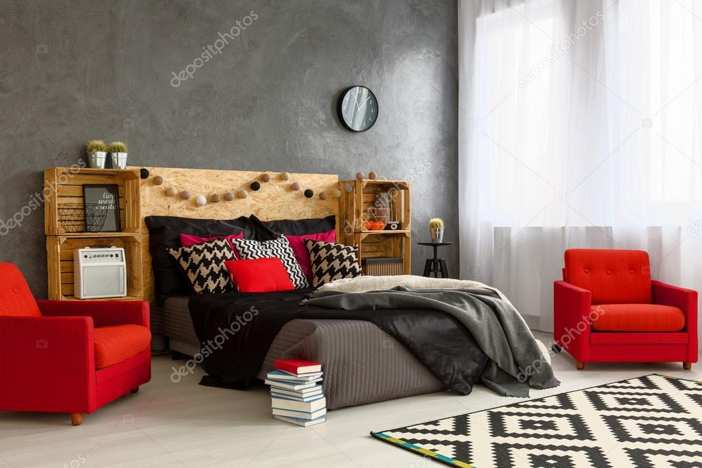 Sypialnia Z Pomysłem I Stylu Zdjęcie Stockowe