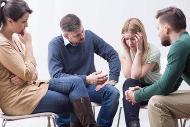 Sharing her fears on self-help fellowship meeting