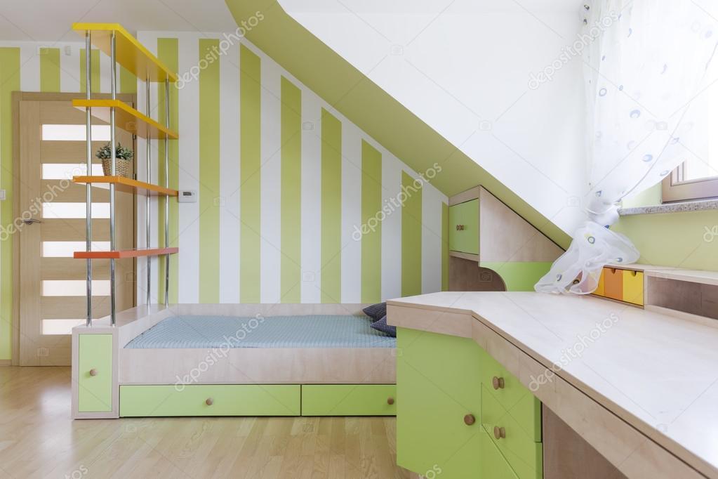 Schlafzimmer Und Arbeitszimmer Kinderzimmer Kombiniert Idee U2014 Stockfoto