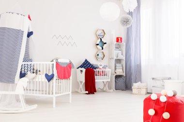 Marine decor of a modern baby room