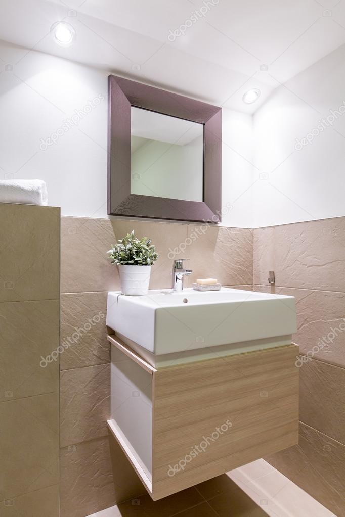 Gemütliche und elegante Badezimmer Ecke ideal für Morgentoilette ...