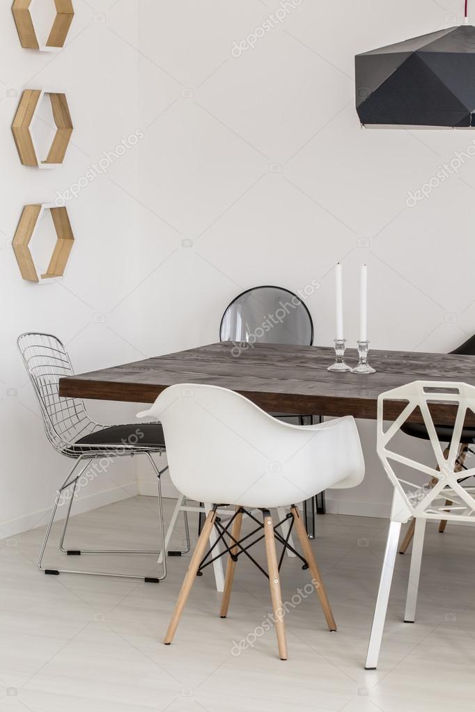 Prachtige minimalistische eetkamer inrichting — Stockfoto ...