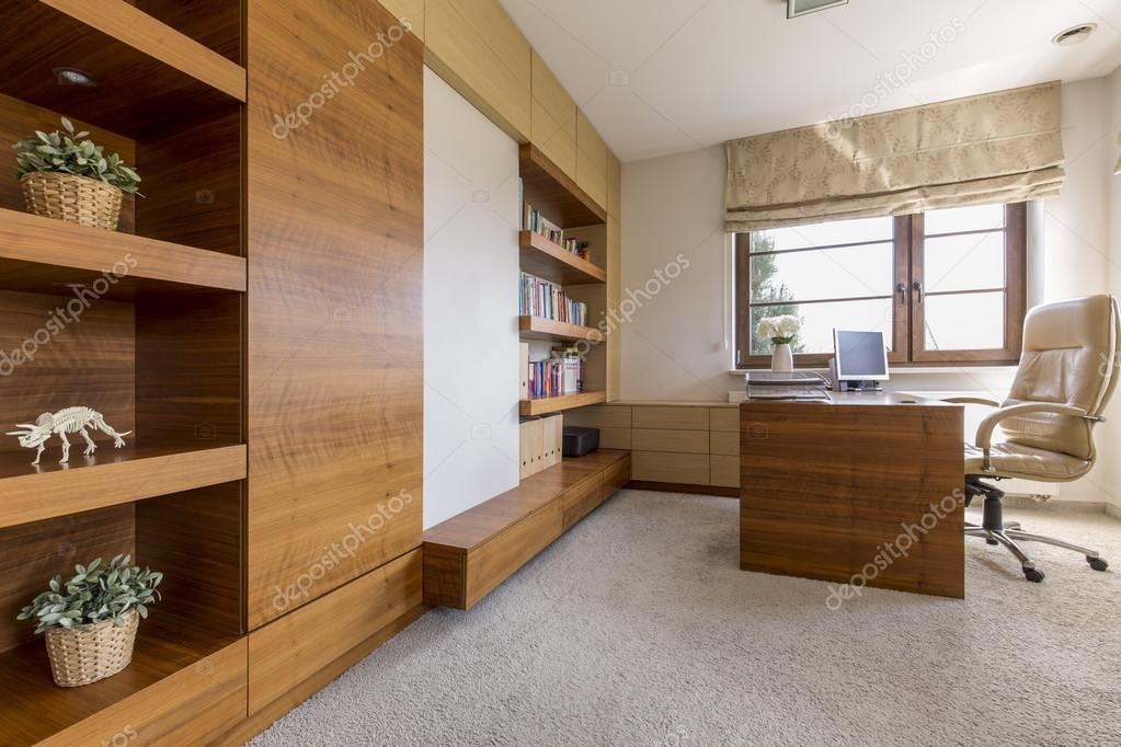 modern and cosy office room in a luxurious house stock photo