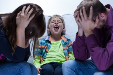 Yelling boy with educational problems
