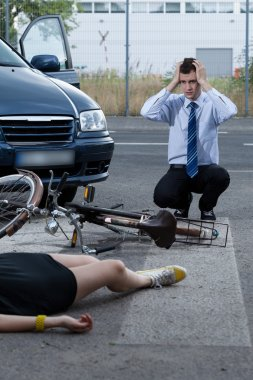 Woman after accident on bike