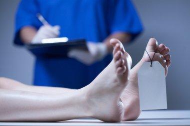 Nurse in a mortuary