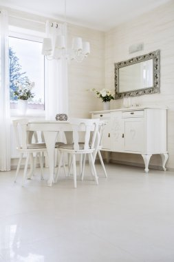 White table with chairs