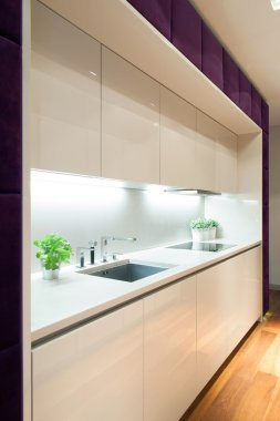 White kitchen with purple elements