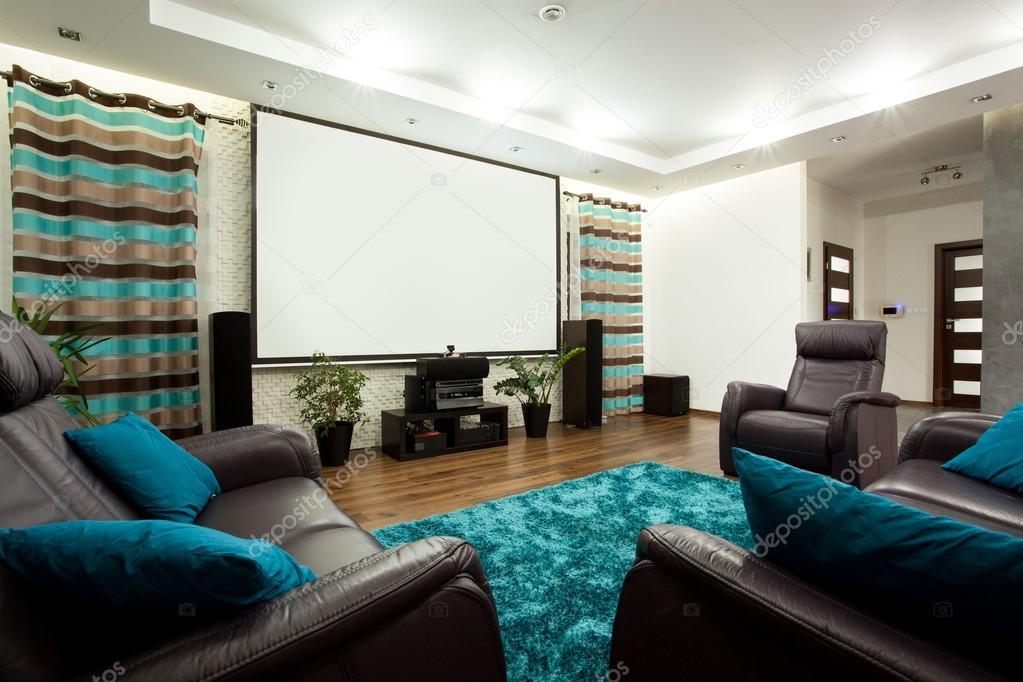 cinema in casa moderna foto stock