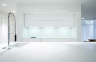 Simple white kitchen interior