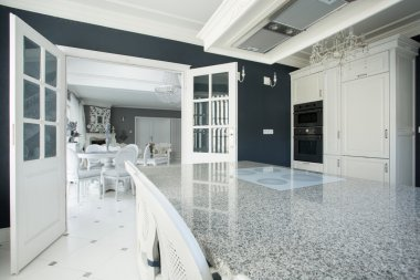 Expensive kitchen with marble worktop