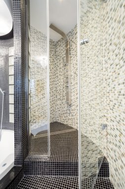 Spacious shower space in designed bathroom