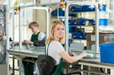 Beauty young woman working on production line stock vector