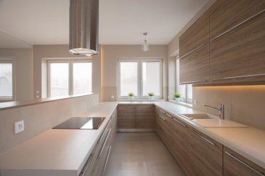 Wooden cupboards in beige kitchen
