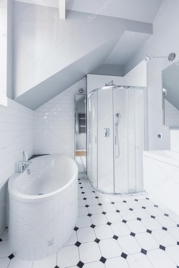 Salle De Bain Contemporaine Blanche Dans La Maison Exclusive Moderne U2014  Image De ...