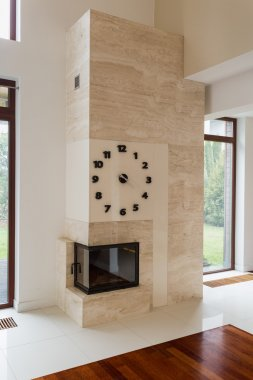Big fireplace in room