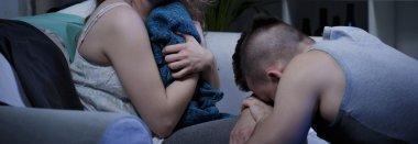 Husband apologizing on knees
