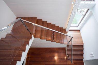 Wooden stairway in luxury house