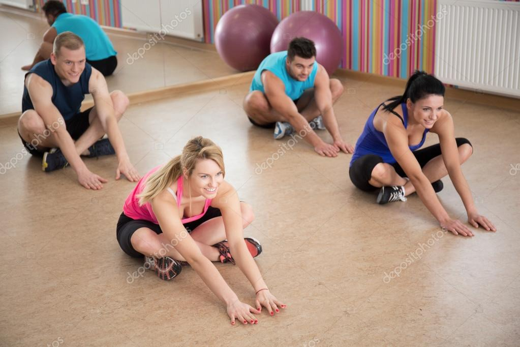 Stretching in fitness club