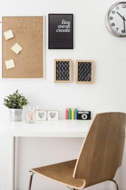 White desk in room