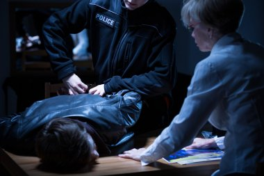 Arrest in interrogation room