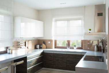 Beige kitchen interior design