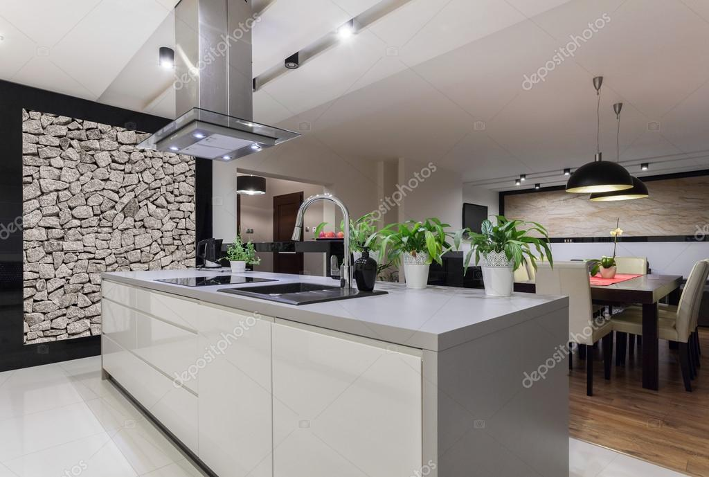 Diseño cocina con muro de piedra — Foto de stock © photographee.eu ...