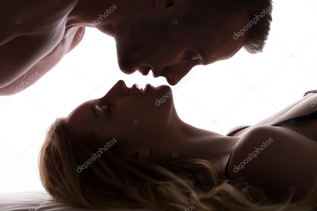 Couple and reverse kiss