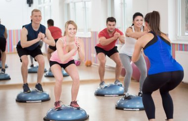 Group of people during balance training