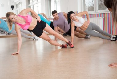 Happy people during fitness classes