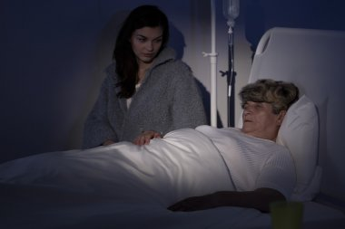Dying woman at hospice