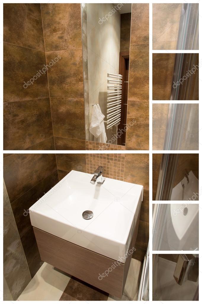 Smaakvolle en bruine badkamer — Stockfoto © photographee.eu #80188884